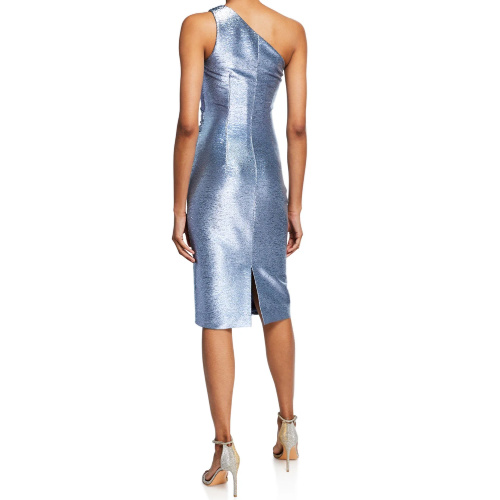 Theia Metallic One-Shoulder Cocktail Dress with Ruching