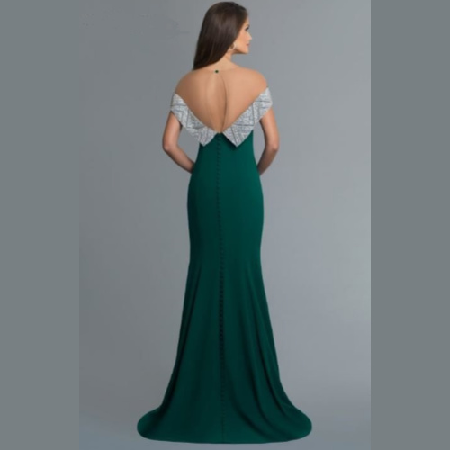 Saboroma Beaded Band Illusion Gown
