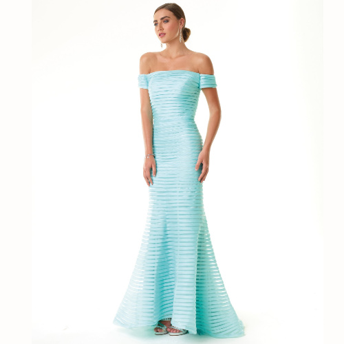 Alberto Makali Off the Shoulder Pleated Gown