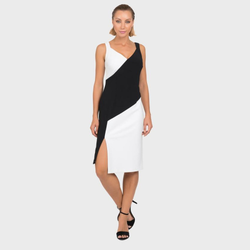 Joseph Ribkoff Black and White Side Slit Dress - Helen Ainson