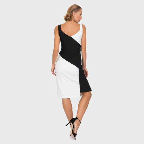 Joseph Ribkoff Black and White Side Slit Dress