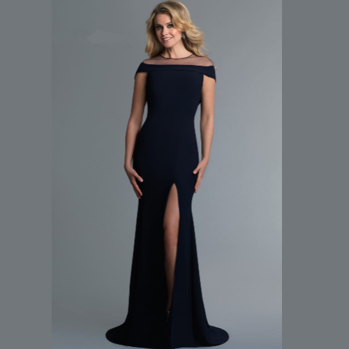 Saboroma Crepe Illusion Neck Gown