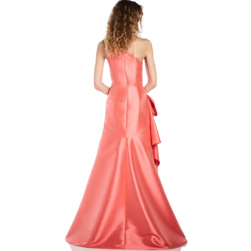 Theia Coral One Shoulder Gown
