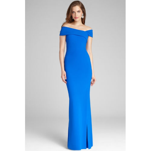 Teri Jon Off the Shoulder Scuba Gown
