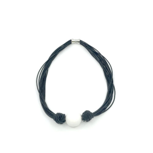 Black Multi Strand Short Necklace with Large White Bead
