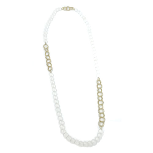 Long Frost Beads w. Small Silver or gold Chain Necklace