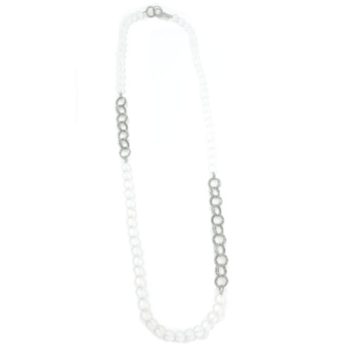 Long Frost Beads w. Small Silver Chain Necklace
