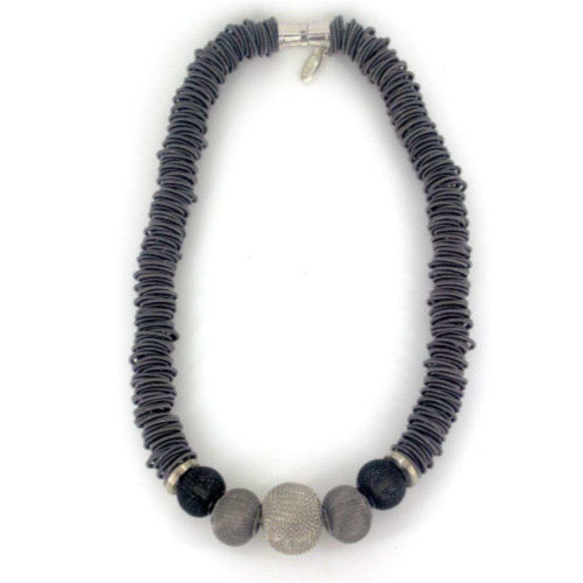 Slate short spring ring necklace with mesh beads