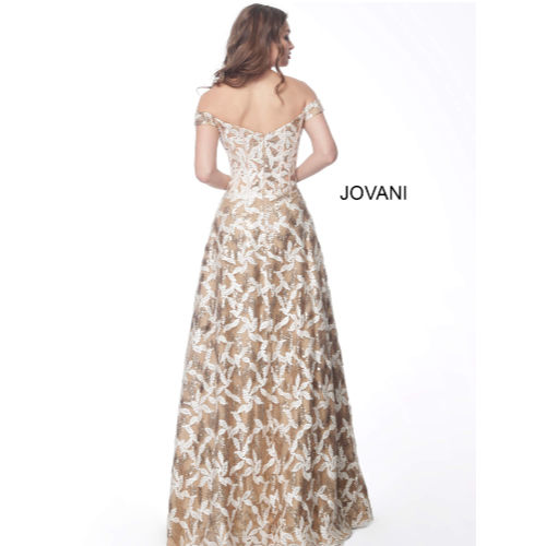 Gold Off the Shoulder Embroidered Evening Dress