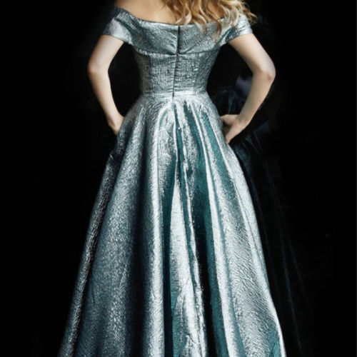 Storm Metallic Off the Shoulder Evening Ballgown