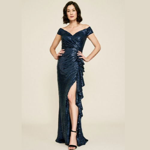 Tadashi Off the Shoulder Sequin Gown