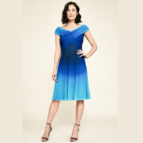 Tadashi Off-The-Shoulder Jersey Ombre Dress