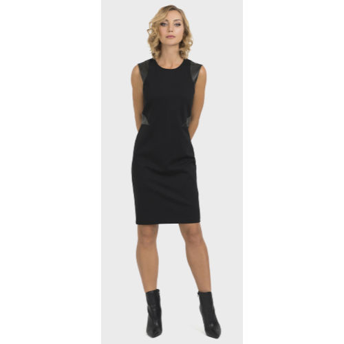 Joseph Ribkoff Leather Accent Sheath Dress