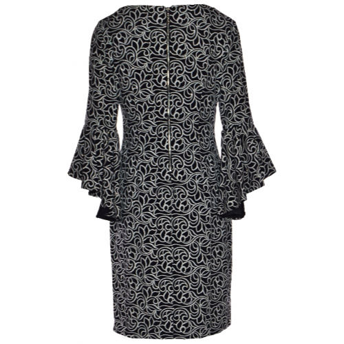 Frank Lyman Floral Embossed Flared Cuff Dress