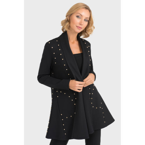 Joseph Ribkoff Long Studded Black Jacket