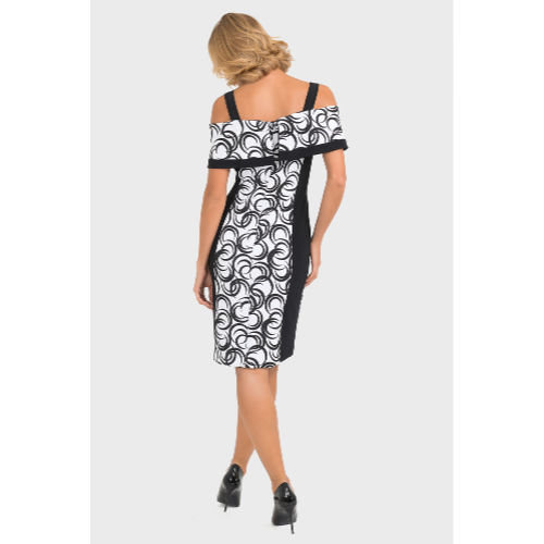 Joseph Ribkoff Black and White Cold Shoulder Dress