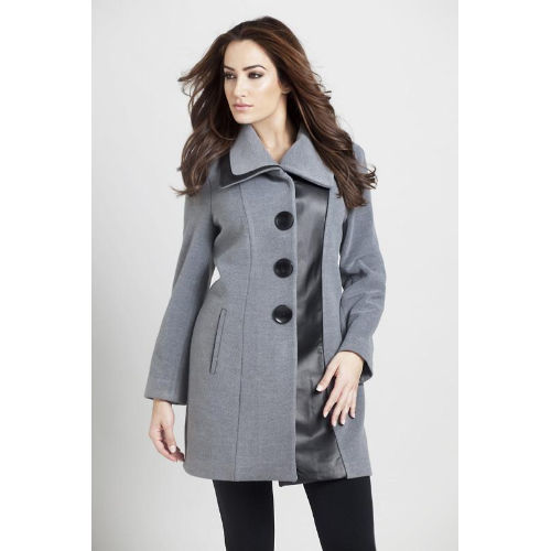 Angel Faux Leather Accent Car Coat