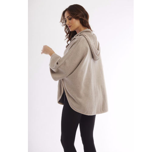 Angel Ribbed Plaid Detachable Hooded Poncho W/ Pockets