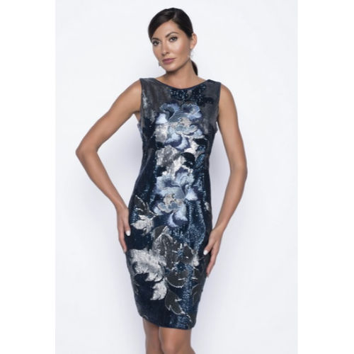 Frank Lyman Embroidered Velvet Dress