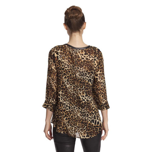 Angel Leopard Microfiber Leather Detail Top