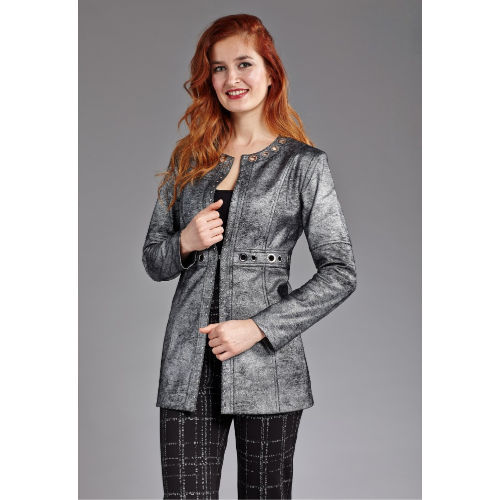 Metallic Pleather Grommet Jacket