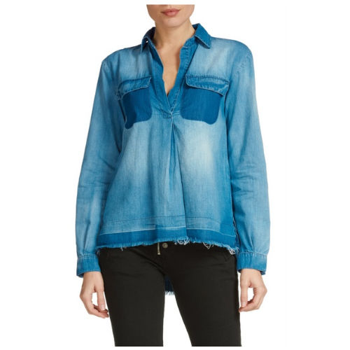 Denim Blouse with Pockets