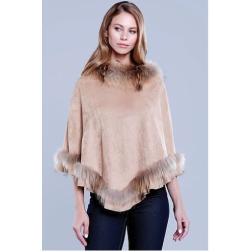 Dolce Cabo Fur and Faux Suede Poncho