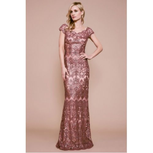 Tadashi Hetz Sequin Embroidered Gown