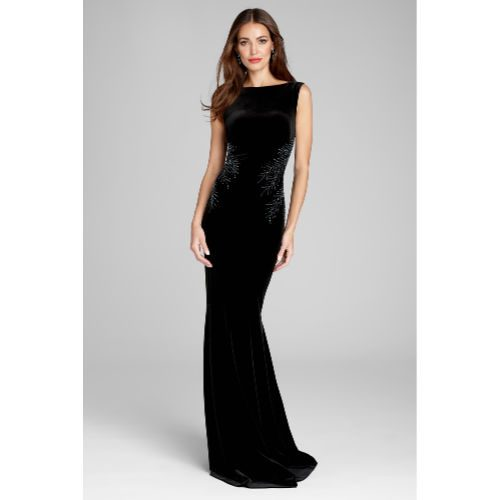 Teri Jon Sleeveless Velvet Gown With Beading