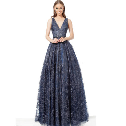 Jovani Navy Embellished Belt V Neck Evening Gown by Jovani at Helen Ainson in Darien Ct