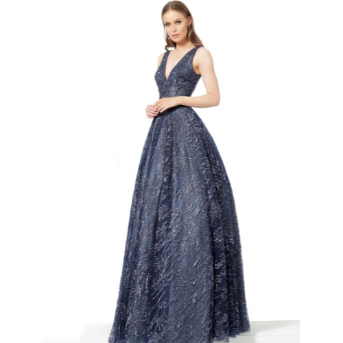 Jovani Navy Embellished Belt V Neck Evening Gown