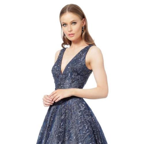Jovani Navy Embellished Belt V Neck Evening Gown