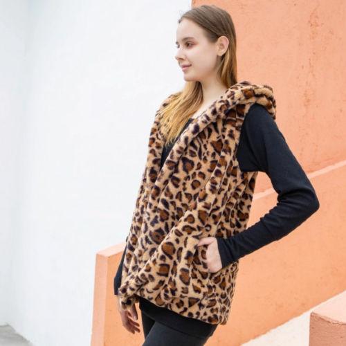 Leopard Faux Fur Hooded Vest