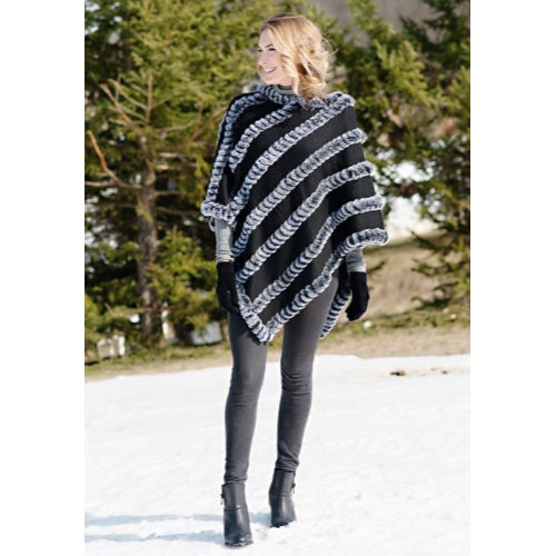 Fabulous Furs Natural Knitted Fur Poncho