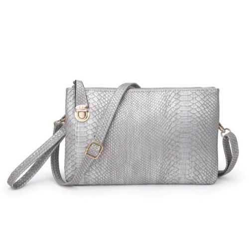 Twist Lock Snakeskin Clutch/Crossbody