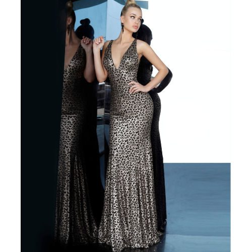 Jovani Metallic Animal Print Gown