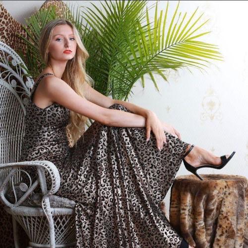 Jovani Metallic Animal Print Gown
