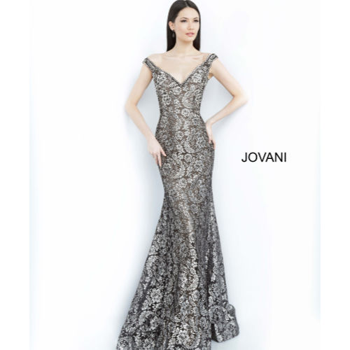 Jovani Off the Shoulder Fitted Lace Gown