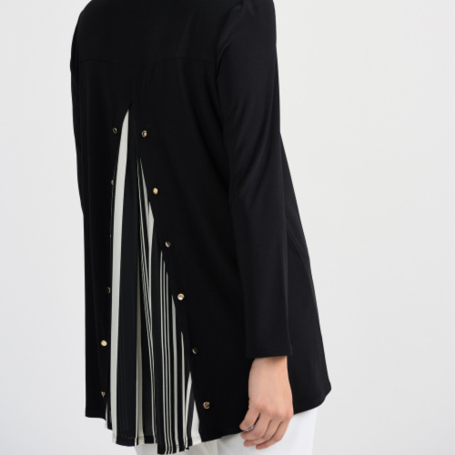 Joseph Ribkoff Black/Vanilla Back Detail Tunic