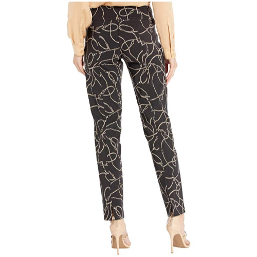 Chain Link Pull-On Ankle Pants with Back Slit Detail