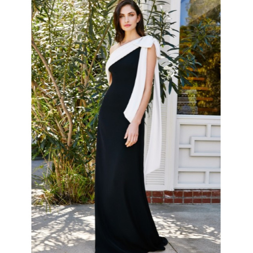 oversized bow strap evening dress