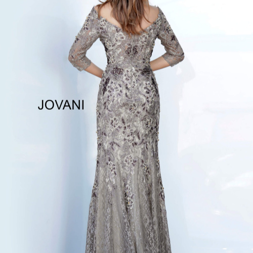 Jovani Off the Shoulder Floral Embroidered Evening Gown