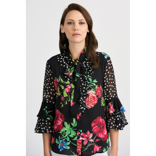 Black/Multi blouse from Joseph Ribkoff