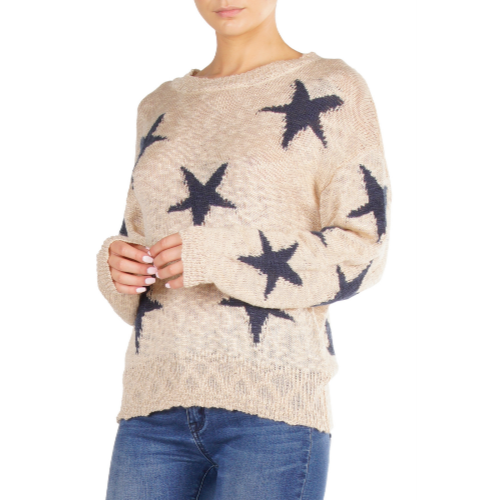 Knit Off the Shoulder Star Sweater