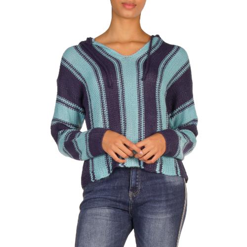 Knit Pull Drawn Striped Hoodie
