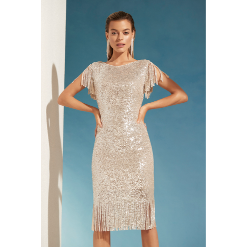 Frank Lyman Fringe Sleeve Sequin Dress