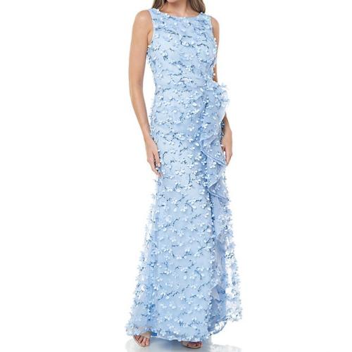 Carmen Marc Valvo 3D Petal Ruffle Front Dress