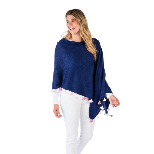 is made in a soft blend of Cotton and Cashmere and can be worn multiple ways. Available in beautiful colors and featuring a multi colored T