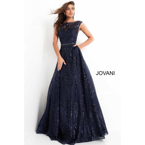 JOVANI - 02514 CAP SLEEVE SEQUIN EMBROIDERED A-LINE GOWN at Helen Ainson in Darien CT