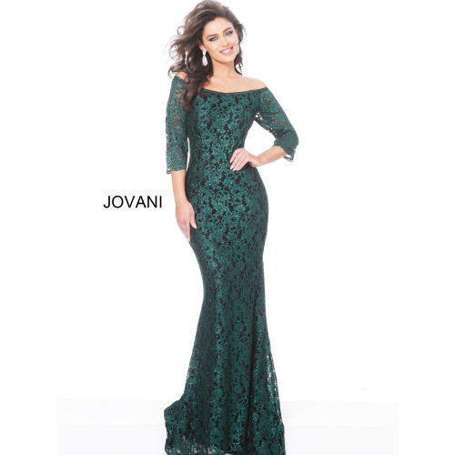 Jovani 03349 Taupe Boat Neckline Lace Evening Dress